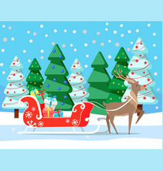 christmas and winter holidays deer with presents vector image