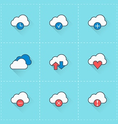 Cloud computing icons icon set in flat design vector image