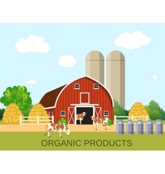 Colorful milk farm life with natural economy vector