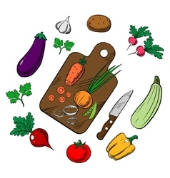 Cooking a vegetable salad colorful sketch vector
