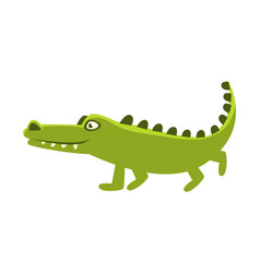 Crocodile going for a walk cartoon character and vector