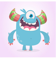 Cute cartoon monster with horns with one eye vector