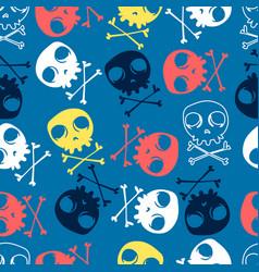 Cute skulls seamless pattern print design vector