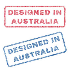 Designed in australia textile stamps vector