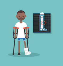 Disabled black man on crutches with broken leg vector