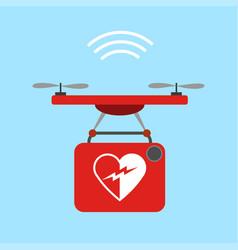 drone bringing a defibrillator 5g use case vector image