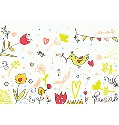 Floral cute banner with flowers birds hearts vector image