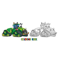 Funny big tractor with eyes coloring book vector
