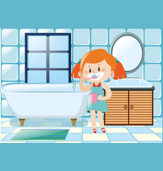 Girl brushing teeth in the bathroom vector