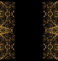 gold tree border isolated on black background vector image