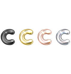 Golden foil balloon inflated alphabet symbol c vector