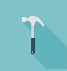 hammer icon flat design with long shadow vector image