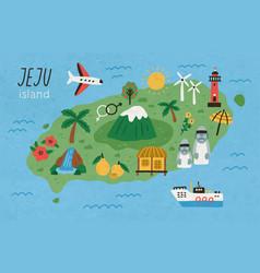 hand drawn jeju island map flat vector image