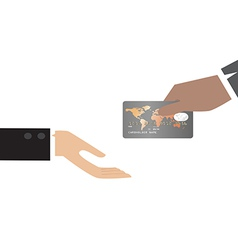 Hand giving Credit Card to other hand vector image vector image