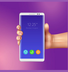 Hand with realistic smart phone vector