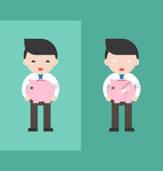 happy businessman holding piggybank and sad vector image