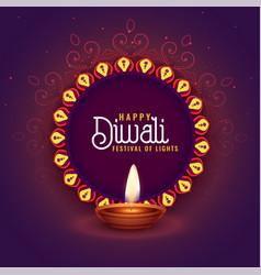 Happy deepawali festival card design with vector