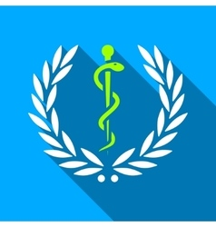 Healh Care Laurel Emblem Flat Long Shadow Square vector