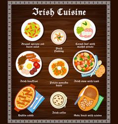 Irish food cuisine menu dishes and ireland meals vector