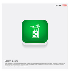 juice icon cocktail drink icon green web button vector image