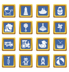 kids toys icons set blue square vector image