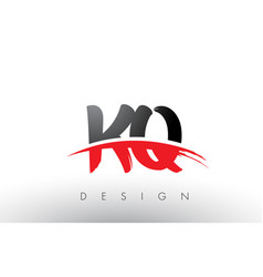 kq k q brush logo letters with red and black vector image