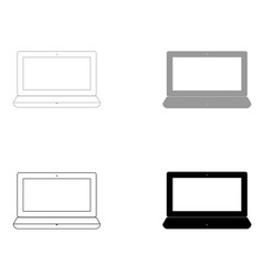 laptop the black and grey color set icon vector image