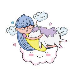 little girl with unicorn and cloud kawaii vector image