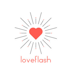 loveflash with red heart and sun burst vector image