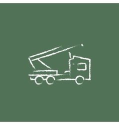 Machine with a crane icon drawn in chalk vector