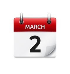 March 2 flat daily calendar icon Date and vector