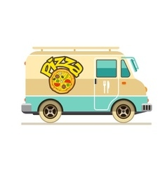 Minibus for pizza delivery vector image