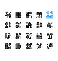 musical genres black glyph icons set on white vector image