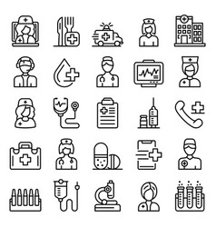 nurse icons set outline style vector image