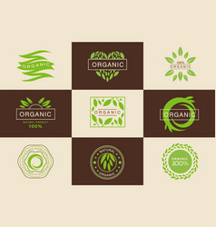 organic 100 percent product logo template set vector image