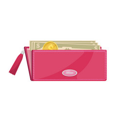 Pink wallet with cash vector