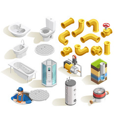 Plumber isometric icons set vector