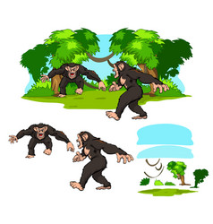 Primate jungle scene vector