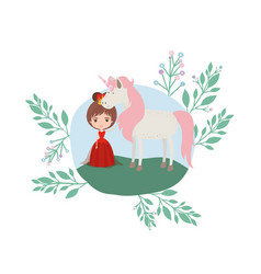 Princess with unicorn in the camp vector