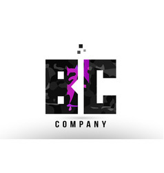 Purple black alphabet letter bc b c logo vector