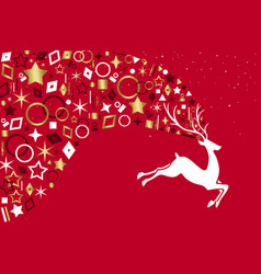 red christmas deer with gold icon decoration vector image