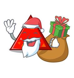 Santa with gift triangel mascot cartoon style vector