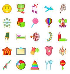 Schoolchildren icons set cartoon style vector