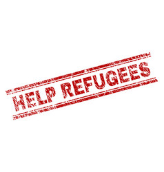 Scratched textured help refugees stamp seal vector