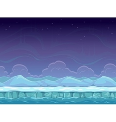 Seamless cartoon arctic landscape vector