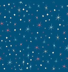 seamless pattern of stars on dark blue background vector image