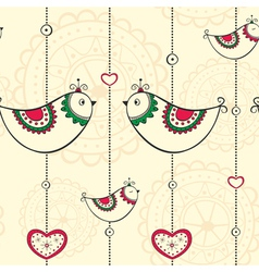 Seamless pattern with ethnic decoration with birds vector