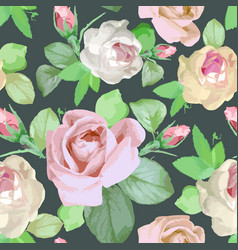 seamless watercolor colored pattern with roses vector image