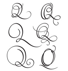 Set Of Art Calligraphy Letter Q With Flourish Vector Image