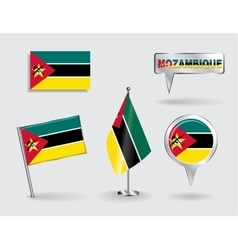 Set of Mozambique pin icon and map pointer flags vector